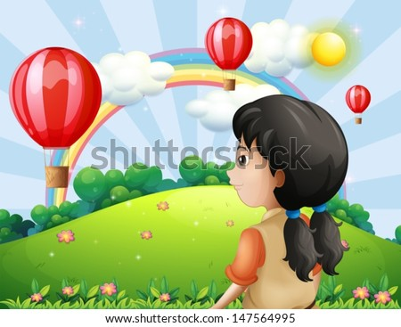 Illustration of a girl looking at the hot air balloon - stock vector