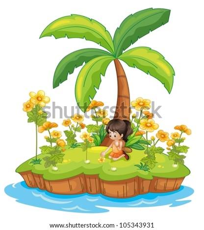 Illustration of a girl on an island - stock vector