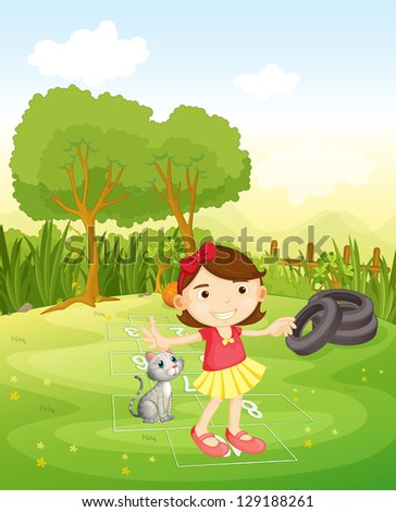 Illustration of a girl playing at the park with her cat