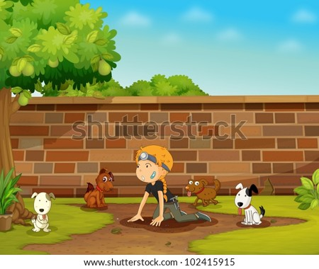 Illustration of a girl playing with dogs - stock vector