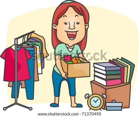 Illustration of a Girl Preparing a Garage Sale - stock vector