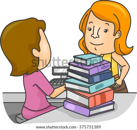 Illustration of a Girl Presenting the Books She Chose at the Counter - stock vector
