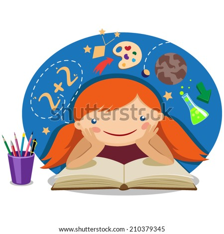 illustration of a girl reading a textbook - stock vector
