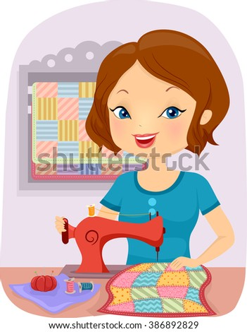 Illustration of a Girl Sewing a Colorful Quilt - stock vector