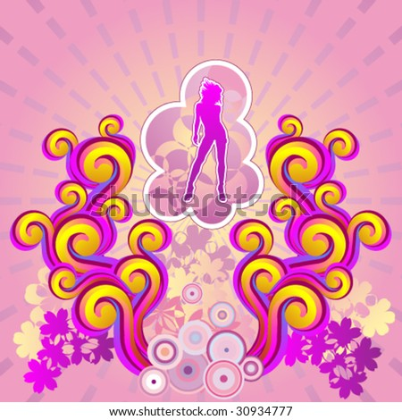 illustration of a girl silhouette dancing in a sunset  abstract environmental - stock vector