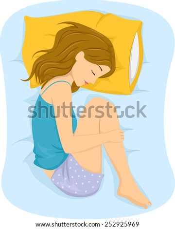 Illustration of a Girl Sleeping in the Fetal Position - stock vector