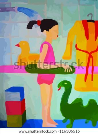 Illustration of A Girl Taking shower in bathroom - stock vector