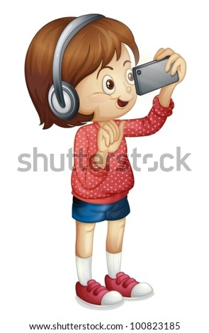 Illustration of a girl using a smart phone - stock vector