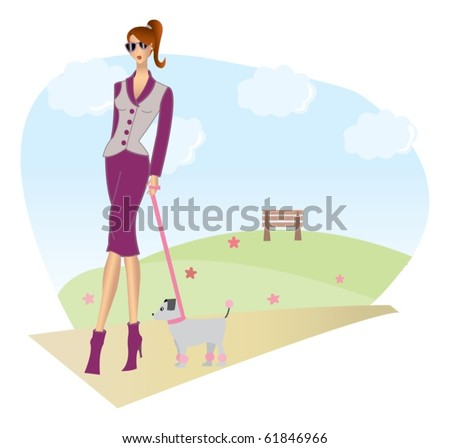 Illustration of a girl walking her little dog