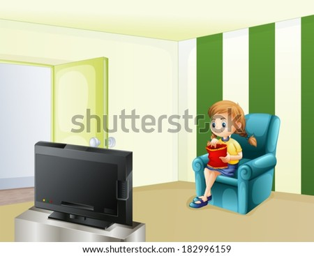Illustration of a girl watching TV while eating - stock vector