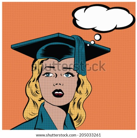 Illustration of a girl wearing graduation hat in a pop art/comic style  - stock vector