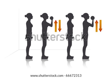 Illustration of a girl who exercise biceps with dumbbells. - stock vector