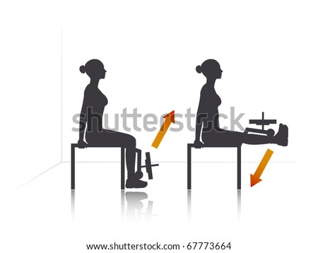Illustration of a girl who exercise legs front extension. - stock vector
