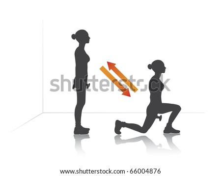 Illustration of a girl who exercise step-out with dumbbells. - stock vector