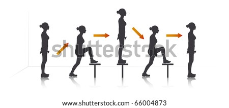 Illustration of a girl who exercise step-up with dumbbells on bench. - stock vector