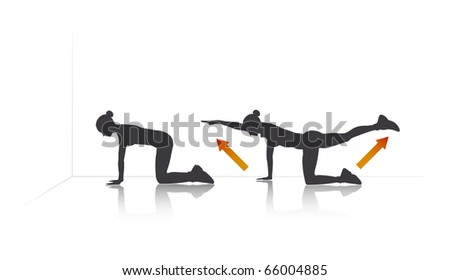 illustration of a girl who is stretching. - stock vector