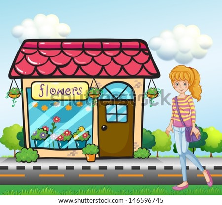 Illustration of a girl with a bag outside the flower shop