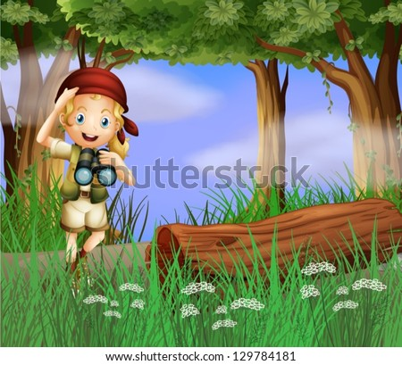 Illustration of a girl with a telescope inside the forest - stock vector