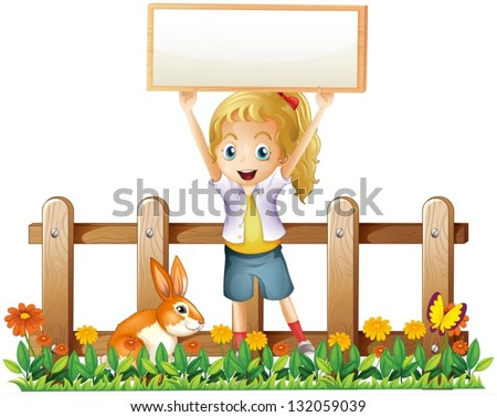 Illustration of a girl with an empty frame and a bunny on a white background - stock vector