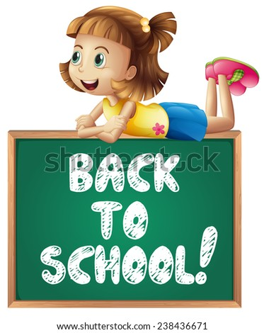 Illustration of a girl with back to school sign - stock vector