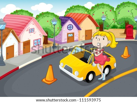 illustration of a girl with car on road - stock vector