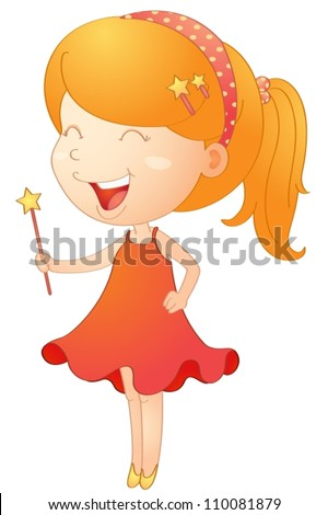 illustration of a girl with magic stick on a white - stock vector