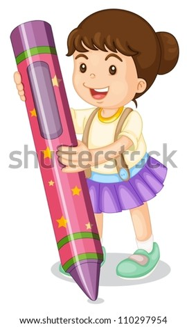 illustration of a girl with pencil on a white background
