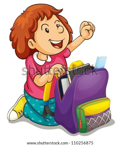 illustration of a girl with school bag on a white background - stock vector
