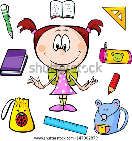 illustration of a girl with school supplies on a white background  - stock vector