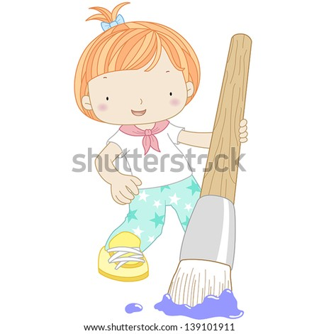 illustration of a girl with watercolor brush. - stock vector