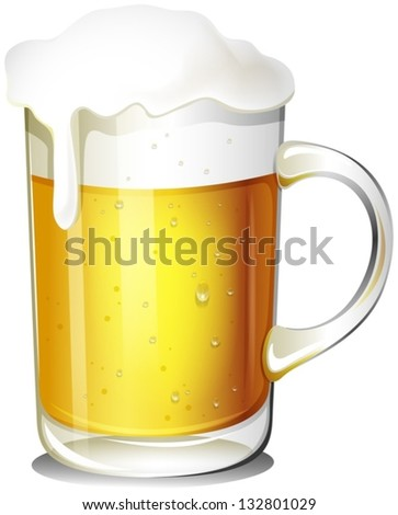 Illustration of a glass of cold beer on a white background - stock vector