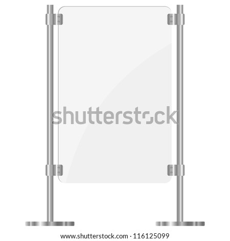 Illustration of a glass screen with metal racks. eps10 - stock vector