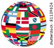 illustration of a globe filled with different flags - stock photo