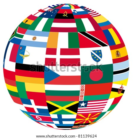 illustration of a globe filled with different flags - stock vector
