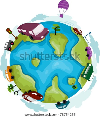 Illustration of a Globe Surrounded by Cars