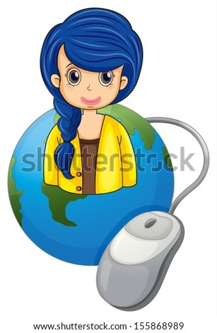 Illustration of a globe with a businesswoman and a computer mouse on a white background - stock vector