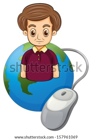 Illustration of a globe with a serious man on a white background - stock vector