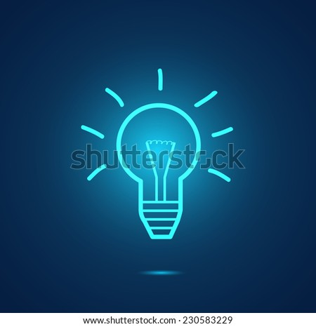 Illustration of a glowing light bulb on a colorful background. - stock vector