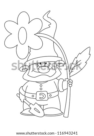 illustration of a gnome and flower outlined - stock vector