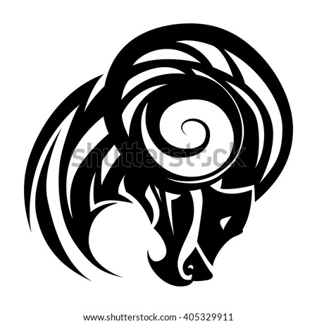 illustration of a goat tattoo on isolated white background - stock vector