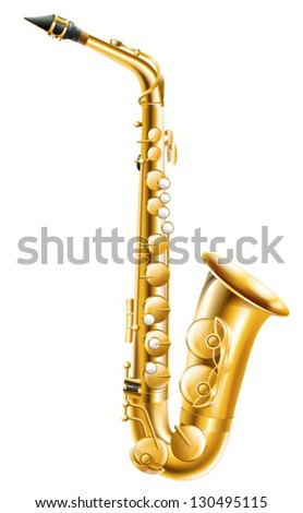 Illustration of a gold saxophone on a white background - stock vector