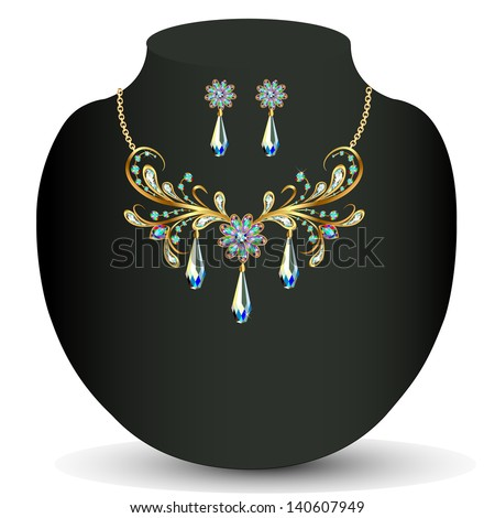 illustration of a Golden necklace and earrings women's wedding with precious stones - stock vector