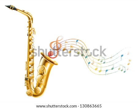 Illustration of a golden saxophone with musical notes on a white background - stock vector