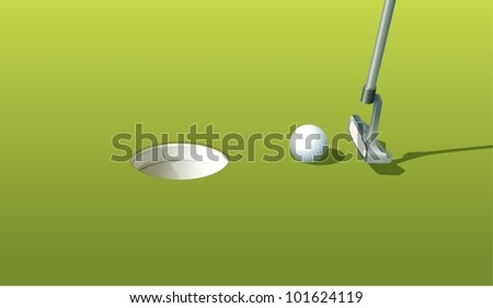 Illustration of a golf ball near the hole - stock vector