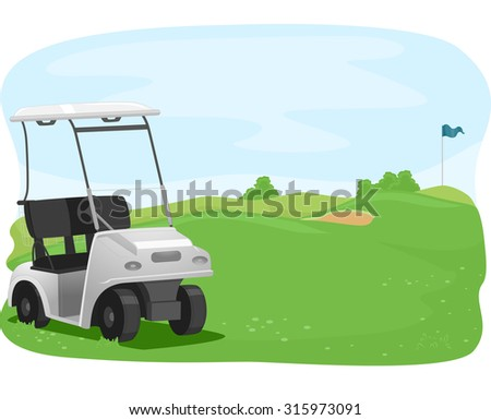 Illustration of a Golf Cart Parked in a Golf Course - stock vector