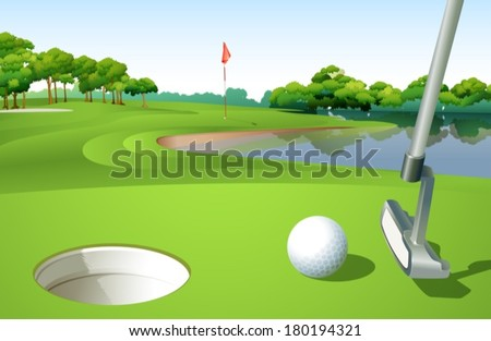 Illustration of a golf course - stock vector