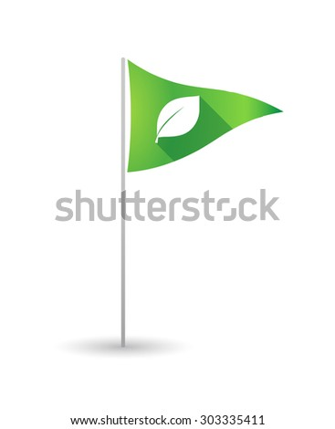 Illustration of a golf flag with a leaf - stock vector