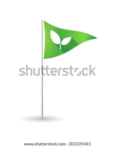Illustration of a golf flag with a plant - stock vector