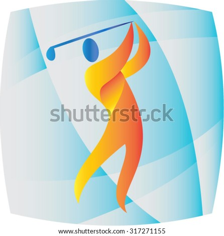 Illustration of a golfer playing golf swinging club teeing off set inside square shape done in retro style.  - stock vector