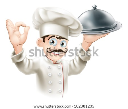 Illustration of a gourmet chef holding  silver platter and giving an okay sign - stock vector